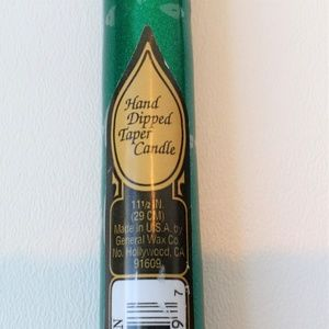 "7 Metallic Green 11 1/2"" Taper Candles"